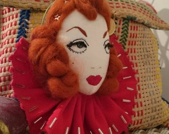 Lola Circus Doll Face Wall Hanging Embroidery
