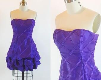 Vintage 1980s Size 1 Purple Cocktail Bubble Prom Mini Dress