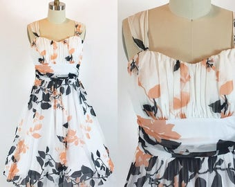 "Vintage 90s Floral Circle Skirt Dress | 28"" Waist"