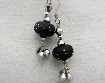 Lampwork Earrings Black with Fine Silver Droplets Glass Bead Earrings Dangle Drop Earrings Cluster Earrings SRAJD USA Handmade