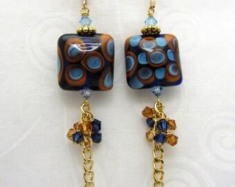 Lampwork Earrings Glass Artisan Earrings Glass Bead Earrings Dangle Drop Earrings With Swarovski Crystals Cluster Earrings SRAJD