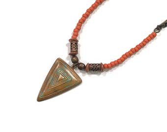 Painted Southwest Triangle pendant necklace