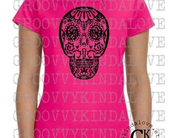 Sugar Skull Design Instant Download for Electronic Cutters silhouette cricut vinyl digital decal hippie boho chic t shirt heat transfer