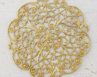 Raw Brass Large Round Filigree Findings 1518 x2