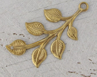 Raw Bare Naked Brass Leaf Connectors Botanical Jewelry Finding 1519R x6