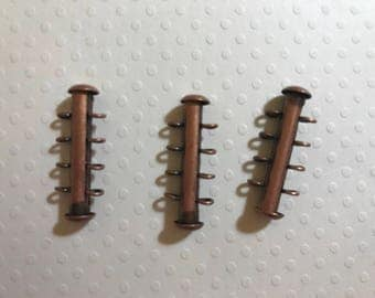 4 Strand Antique Copper Plated Slide Clasp VERTICAL LOOPS - 26mm x 10.1mm - 3 clasps