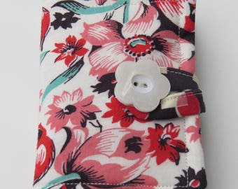 Tea Wallet , Tea Bag Holder, Cute Accessory, Purse Accessory, Salmon, Red, and Cream Flowers