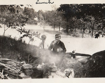 Original Vintage Photograph Snapshot Boys Eating Outdoors by Campfire Camping 1910s-20s