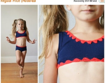 ON SALE NOS, 1970s Navy Bikini >>> Girls Size 2t/3t/4t
