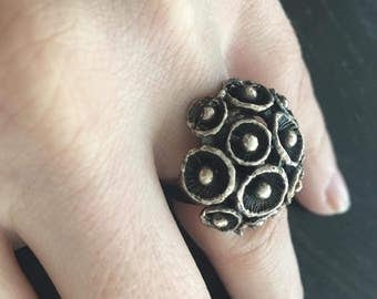 Sale - Modernist chunky statement pod silver tone ring