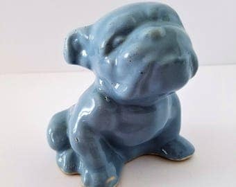Vintage Blue Bull Dog Morton Pottery Planter