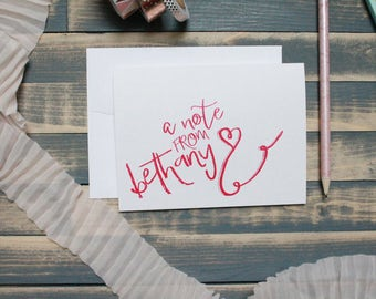 Bright Teen Messy Calligraphy Personal Stationary Set | Stationery Gift | Girly Heart | Bethany