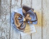 NEW Large Silver Grey Satin Bow Hair Clip - center knot - hair bow - no slip grip clippie - satin hairbows - gray hairbow
