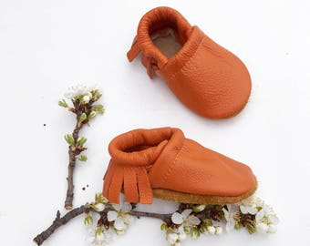 BASICS//Apricot Fringe Soft Soled Leather Moccasins Shoes Baby and Toddler //Free Shipping in USA// Starry Knight Design