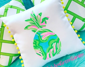 New Made To Order custom Pineapple Pillow made with Lilly Pulitzer In The Bungalows fabric