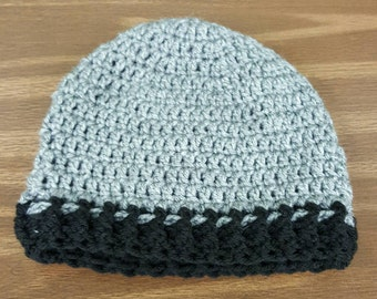 Handmade Crocheted Heather Grey and Black Beanie Hat/Winter Hat