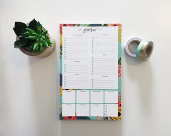 Grocery and weekly meal planner // 100 page notepad // Orgainization Planners // Grocery List // Food Prep