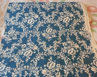 """Blue Damask Home Decor Fabric ~ 100% Cotton Duck ~ 57/58"""" wide ~ Lost and Found 2, Riley Blake"""