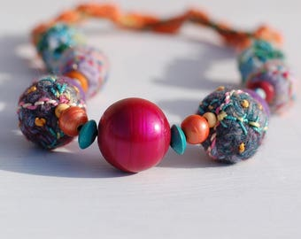 Colour Festival Necklace - Statement Necklace - OOAK - Boho Necklace - Funky Textile Necklace
