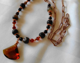 Cognac Crystal Agate Necklace, Botswana Agate Jewelry, Crystal Jewelry, Copper Jewelry, Long Gemstone Necklace, Gemstone Jewelry