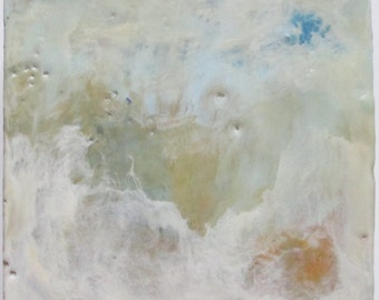 Encaustic painting, abstract encaustic art, wax art, white blue abstract sky