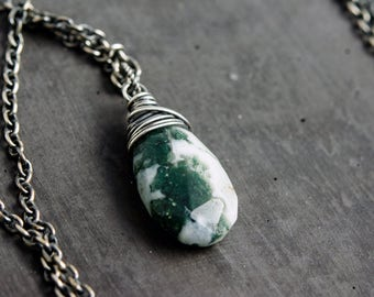 Lichen Necklace, Solar Quartz, Sterling Silver, Natural History, Wire Wrapped, Moss Green, Sage Green, PoleStar, Gemstone Necklace, Pendant