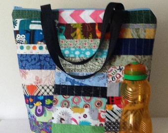 Insulated Large Lunch Bag Stylish Lunch Bag Work lunch tote Patchwork by BonTons Made in Australia