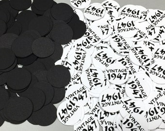 Vintage 1947 Confetti, 70th Birthday, 3/4 Inch Circles - Black and White, READY to SHIP