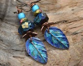 Painted Copper Leaf and Dichroic Spinel Nugget Earrings