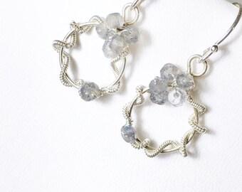 25% OFF Labradorite Gemstone Earrings, Wire Wrapped Sterling Silver, Sculptured Gemstone Dangles