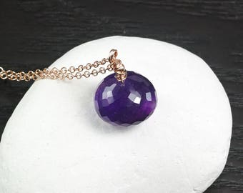 Amethyst Necklace, Amethyst pendant 14k Rose Gold Filled, Purple gemstone jewelry, Minimalist necklace, February Birthstone, Gift for Her