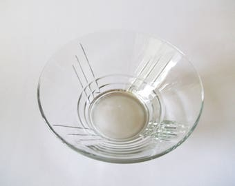 Luminarc Arizona Art Deco Large Salad / Fruit Bowl, Cristal D'Arques Durand, Clear Crystal Glass, USA