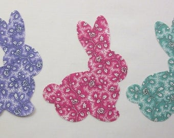 Set of 3 Large Bunny Rabbit 1930's Vintage Style Cotton Fabric Appliques for Quilts & Apparel