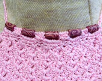 Pink crocheted necklace with maroon swirls  beads - ONE OF A KIND - trach stoma cover