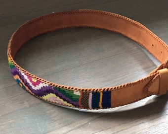 Vintage Guatemalan wide leather and woven belt pink yellow purple green blue