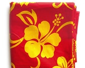 HOLIDAY SALE Hibiscus Flower Tropical Print Cotton Fabric -Tiki Print in Bright Red-Orange and Yellow