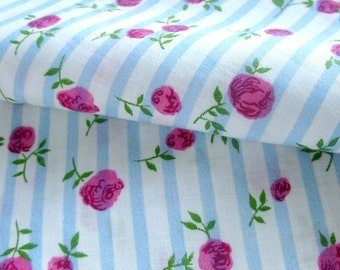 """Vintage FABRIC - 40s 50s Cotton - Blue and White Stripe with Red and Pink Cabbage Roses / 34"""" Wide"""