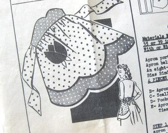 1940s Vintage Sewing Pattern -  Half APRON with Scallop Hem and Tulip Pocket / Anne Cabot's Needlecraft Corner #5802 / One Size