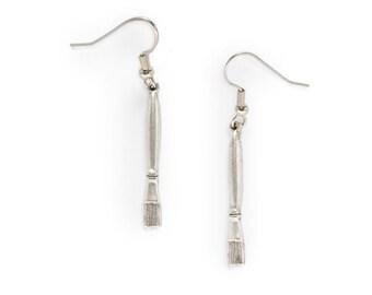 Paintbrush Charm Earrings silver paint brush art teacher gift lead-free pewter USA-made