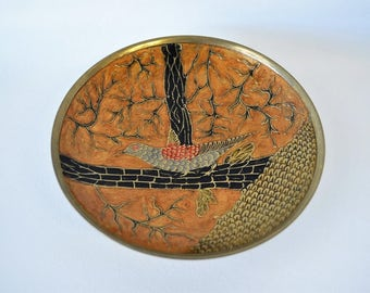 Amazing Japanese inspired mid century modern mosiac gold carved bird tray / Asian design / 1960s collectible