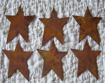 Twelve (12) Rusty Tin Stars Craft Supplies 1 Inch Scrapbooking Embellishments