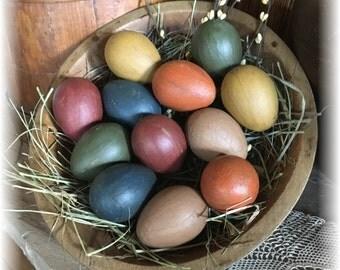 12 Twelve Painted Grungy Paper Mache Eggs Egg Easter Spring Grass  Dark Primitive Look