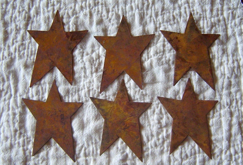 Rusty tin craft supplies - Twelve 12 Rusty Tin Stars Craft Supplies 1 Inch Scrapbooking Embellishments