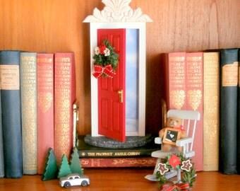 Two wreath, Elf Door and/or Santa Door, Fairy Door or Tooth Fairy Door, opens outward with sky inside, interchangeable wreaths