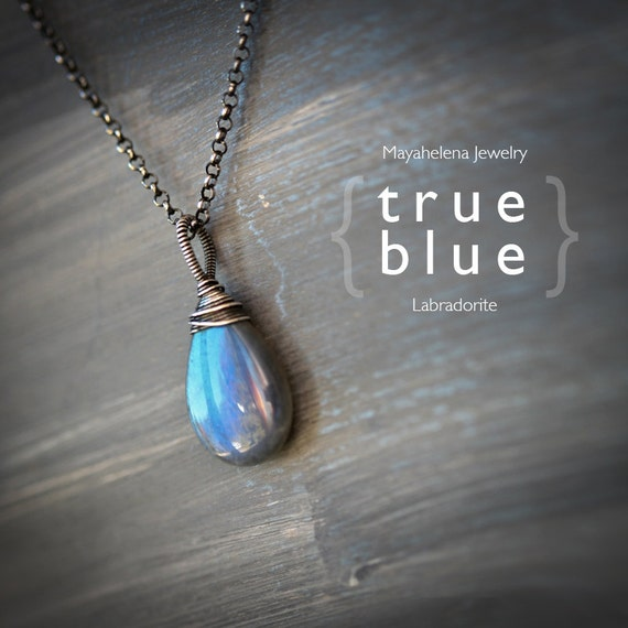 True Blue Sterling Silver Wire Wrapped Labradorite Pendant