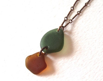 Double Drop Authentic Sea Glass Pendant Necklace in Copper with Brown and Fern Green Glass