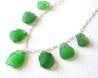 """Unique Ridged Kelly Green Sea Glass Multi Necklace on 18"""" Sterling Silver Chain"""