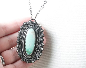 New Lander Variscite Sterling Silver Pendant Necklace handmade 2 1/2 x 1 1/2 inch pendant with 24 inch chain handmade sterling