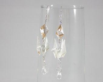 Origami Crane Earrings, Crane Earrings, Origami Earrings, Origami Bird Earrings, Long Earrings, Origami Jewelry, Fashion Earrings