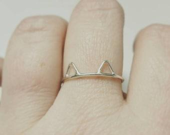 Cat Ring in Sterling Silver Cat Ears